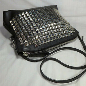 AUTH Burberry Studded Black Leather Clutch w Strap